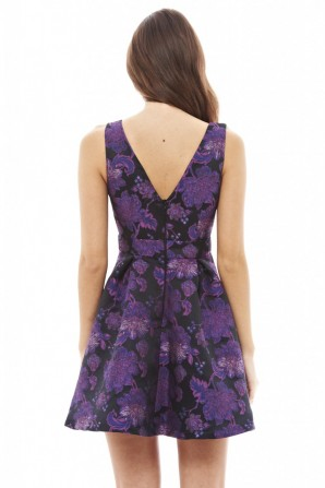 Women's Bright Floral V Front Skater  Purple Dress