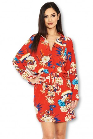 Women's Red Floral Print Tie Waist Shirt Dress