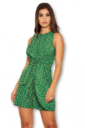 Women's Green Patterned Knot Front Romper