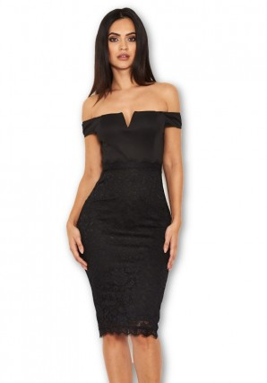 Women's Black Notch Front Lace Detail Midi Dress