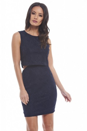 Women's Bonded Lace Double Layer Navy Dress