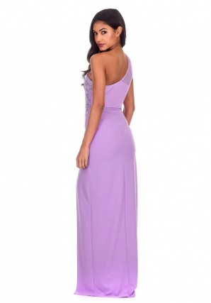 Women's Lilac Asymmetric Maxi Dress