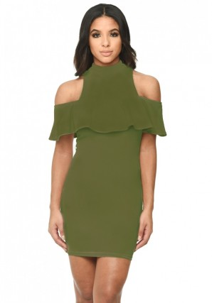 Women's Khaki Cold Shoulder High Neck Mini Dress With Ruffled Detail