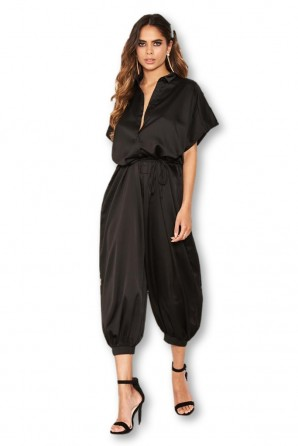 Women's Black Button Up Jumpsuit
