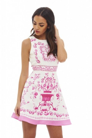 Women's Baroque Printed Skater  Pink Dress