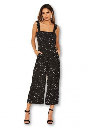 Women's Black Polka Dot Frill Culotte Jumpsuit