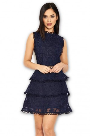 Women's Navy Cut Out Crochet Mini Dress