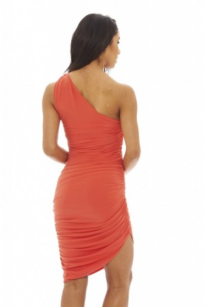 Women's Asymmetric Bodycon  Coral Dress