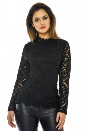 Women's Black Long Sleeved Crochet Top