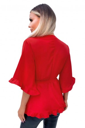 Women's Red Frill Wrap Top