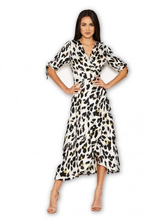 Women's Cream Animal Wrap Print Dress