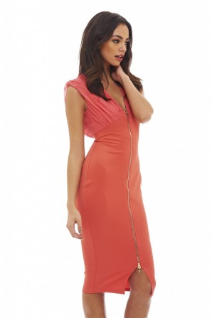 Women's Chiffon Top Bodycon Zip  Coral Dress
