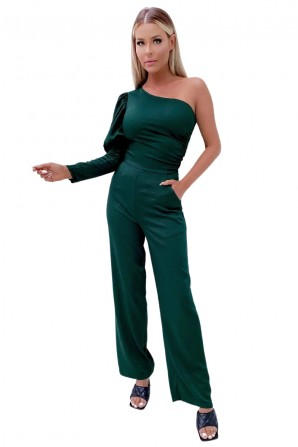 Women's Green One shoulder Puff Sleeve Jumpsuit