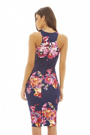 Women's Floral Printed Bodycon  Navy Dress
