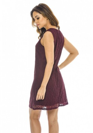 Women's Wine Lace Shift Dress