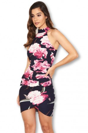 Women's Navy Floral Mini Dress With Ruched Detail