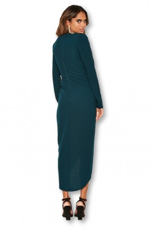 Women's Wrap Front Teal Midi Dress