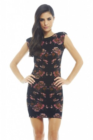 Shoulder Pad Floral Black Bodycon