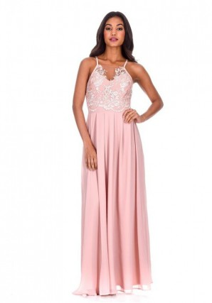 Women's Nude Mesh Embroidery Maxi Dress