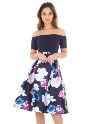 Women's Navy Floral Off The Shoulder Printed Dress