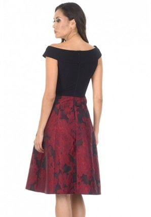 Women's Black And Red Contrast 2 In 1 Floral Dress