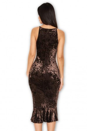 Women's Chocolate Velvet Fishtail Dress