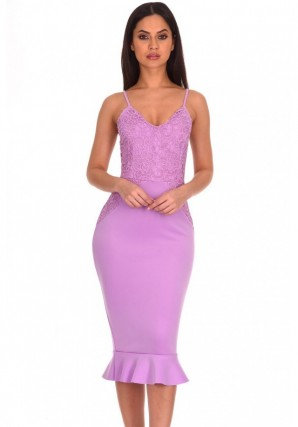 Women's Lilac Crochet Detail Frill Midi Dress