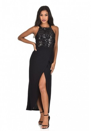 Women's Black Sequin Maxi Dress