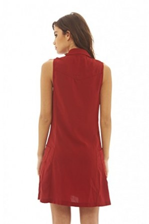 Women's Zip Front Pocket Rust Dress