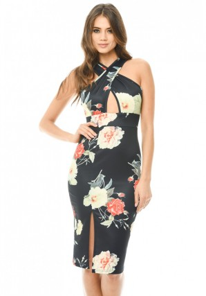Women's Floral Cross Front Midi Black Dress