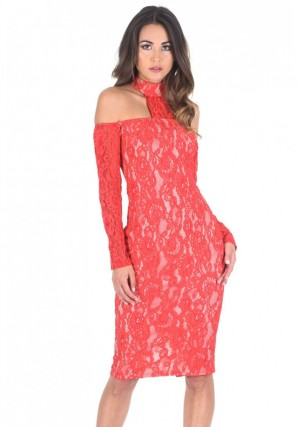 Women's Red T-Bar Lace Choker Midi Dress