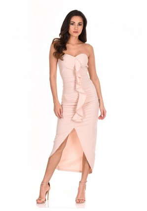 Women's Nude Bardot Frill Detail Midi Dress