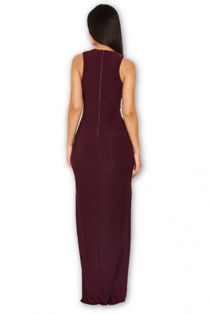 Women's Plum Lace Detailing Maxi Dress