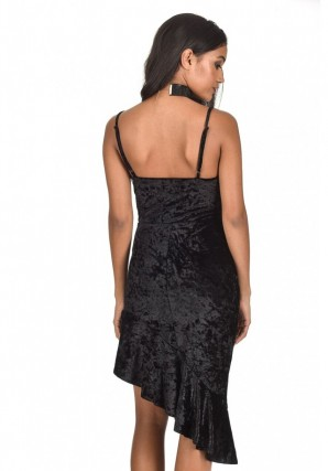 Women's Black Crushed Velvet Bottom Frill dress