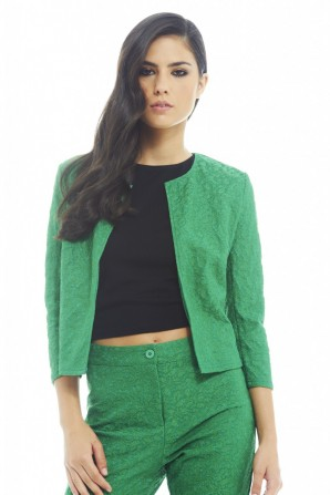 Bonded Self Colored Green Jacket
