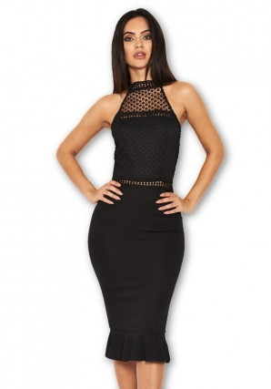 Women's Black Midi Dress With Crochet Detail