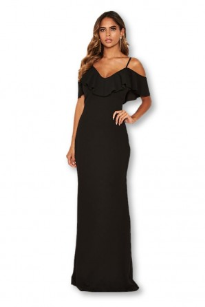 Women's Black Frill Cold Shoulder Maxi Dress