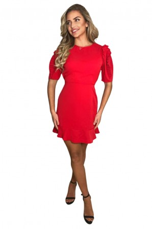Women's Red Pleated Sleeve Skater Dress