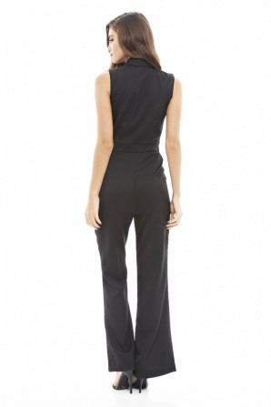 Women's Button Front Flared  Black Jumpsuit