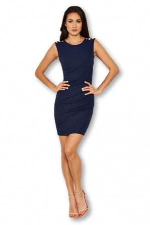 Women's Navy Ruched Military Button Dress