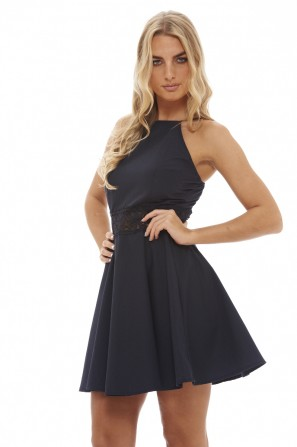 Women's Crochet  Skater   Navy Dress