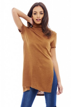 Women's Knitted Polo Neck Camel Sweater