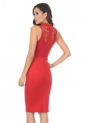 Women's Red High Neck Crochet Bodycon Dress
