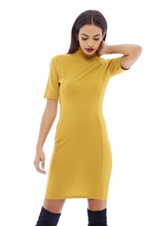 Women's High Neck Bodycon Mustard Dress