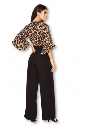 Women's 2 in 1 Leopard Print Frill Sleeve Jumpsuit