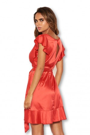 Women's Red Satin Wrap Over Open Back Dress
