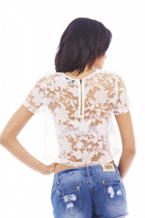 Women's Sheer Lace Croppedcream Top