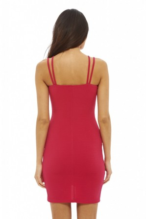 Women's Double Strap Bodycon Cerise Dress
