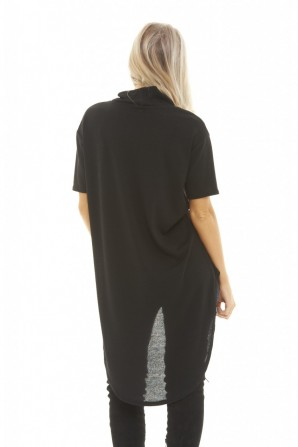 Women's Knitted Dipped Hem  Black Top