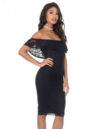 Women's Black Ruffled Off The Shoulder Lace Midi Dress